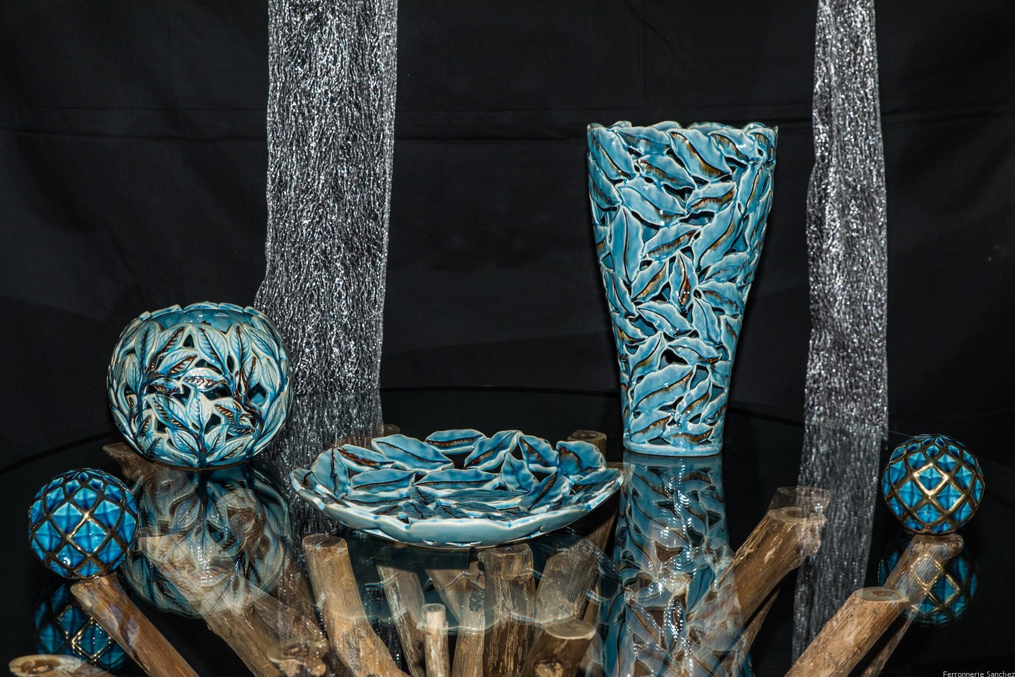 Vase et coupe céramique bleue