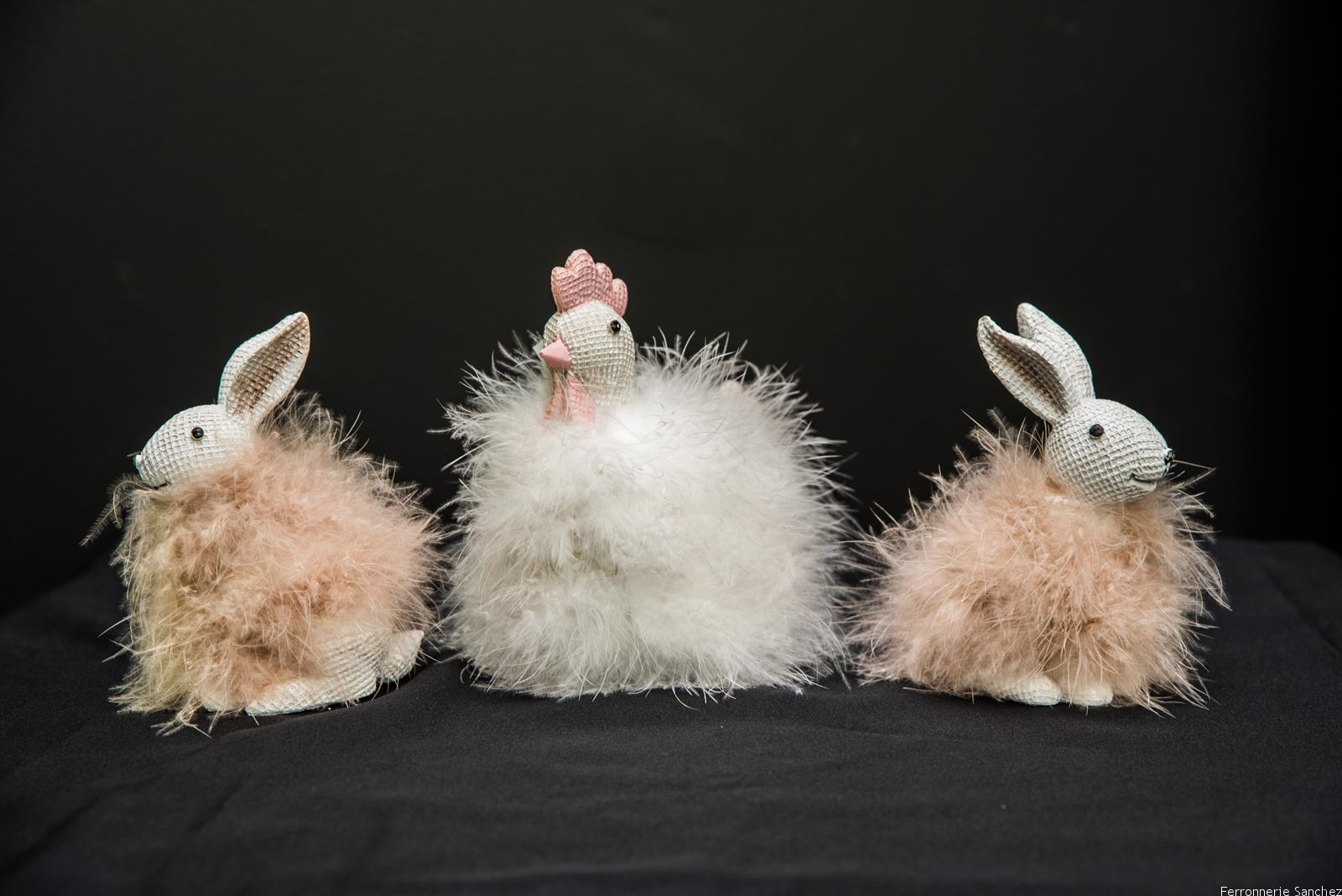 Lapin et poule fourrure